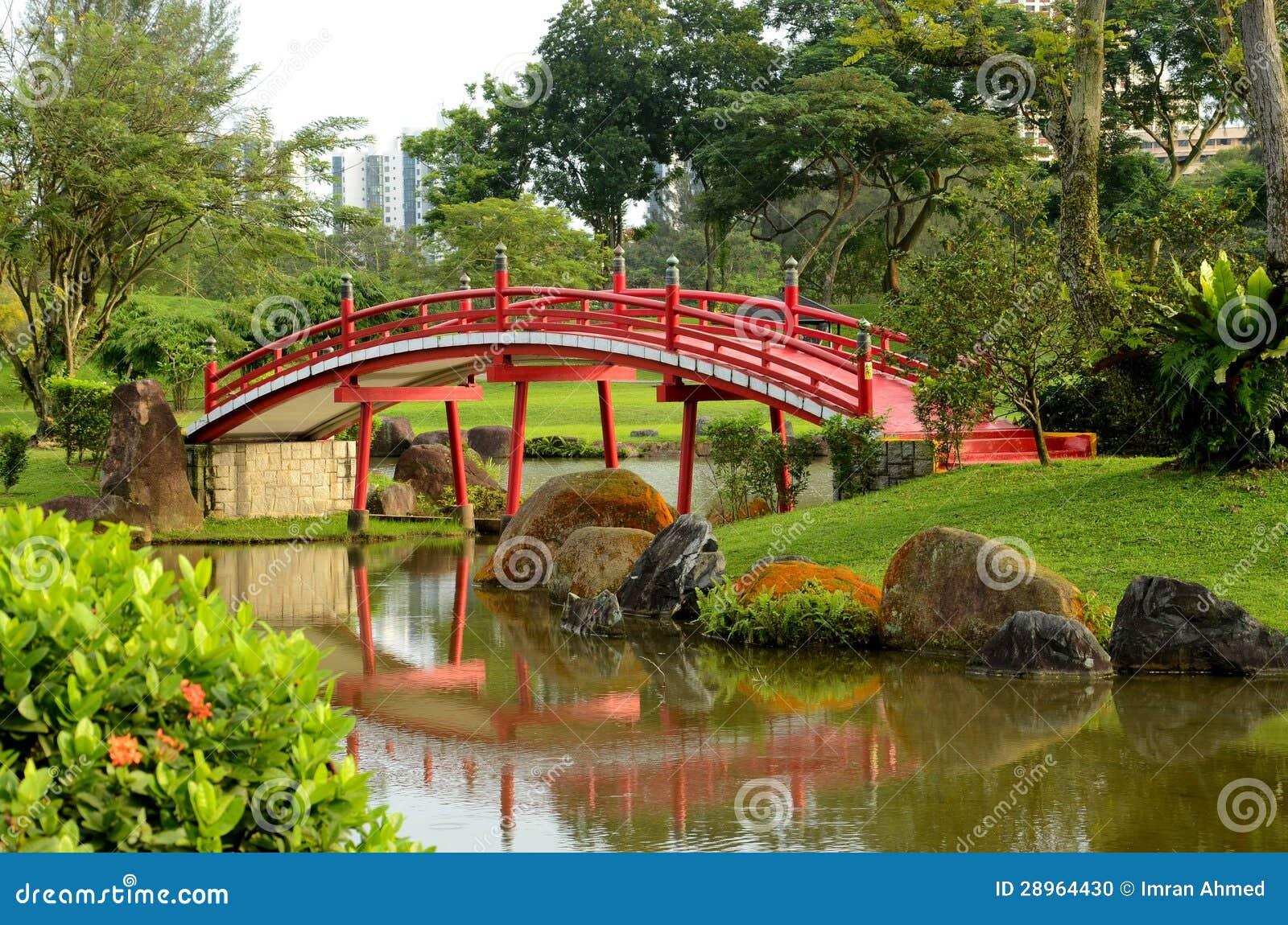 Rewolucjonistka wyginający się japończyka ogród & most strumień
