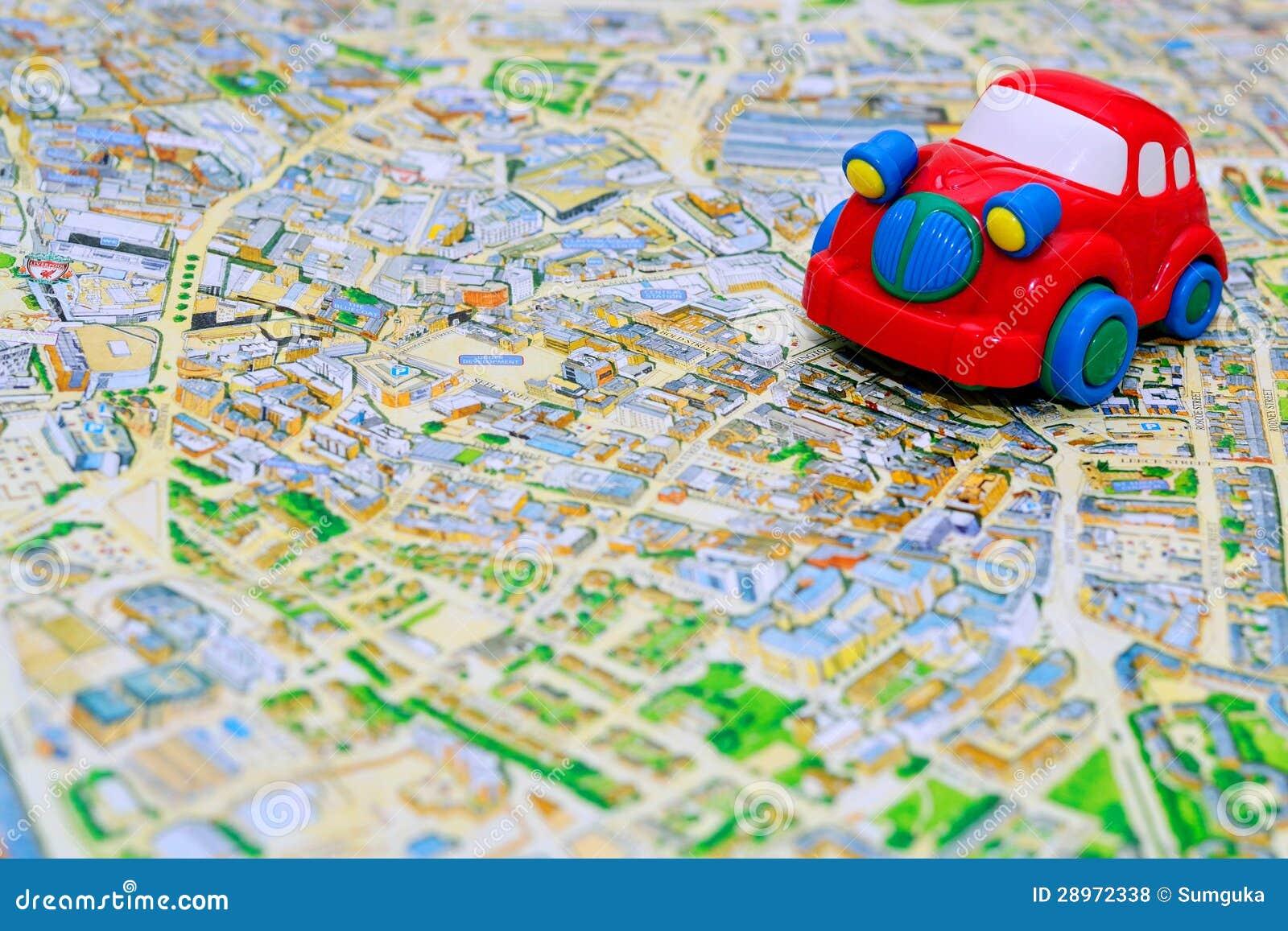 Rewolucjonistka zabawkarski samochód na mapie