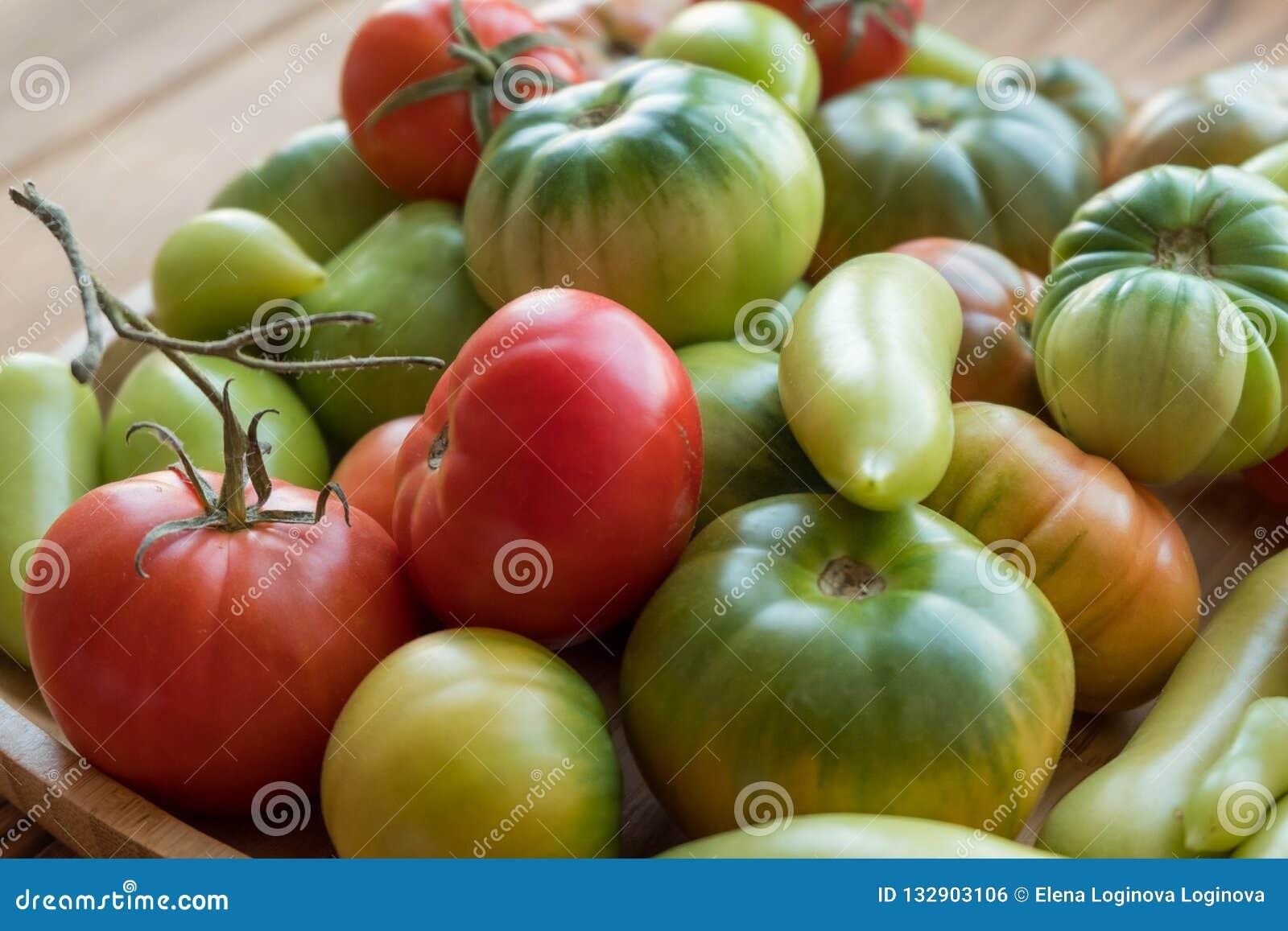 Rewolucjonistki i zieleni pomidory na drewnianym tle Pomidorowy żniwo