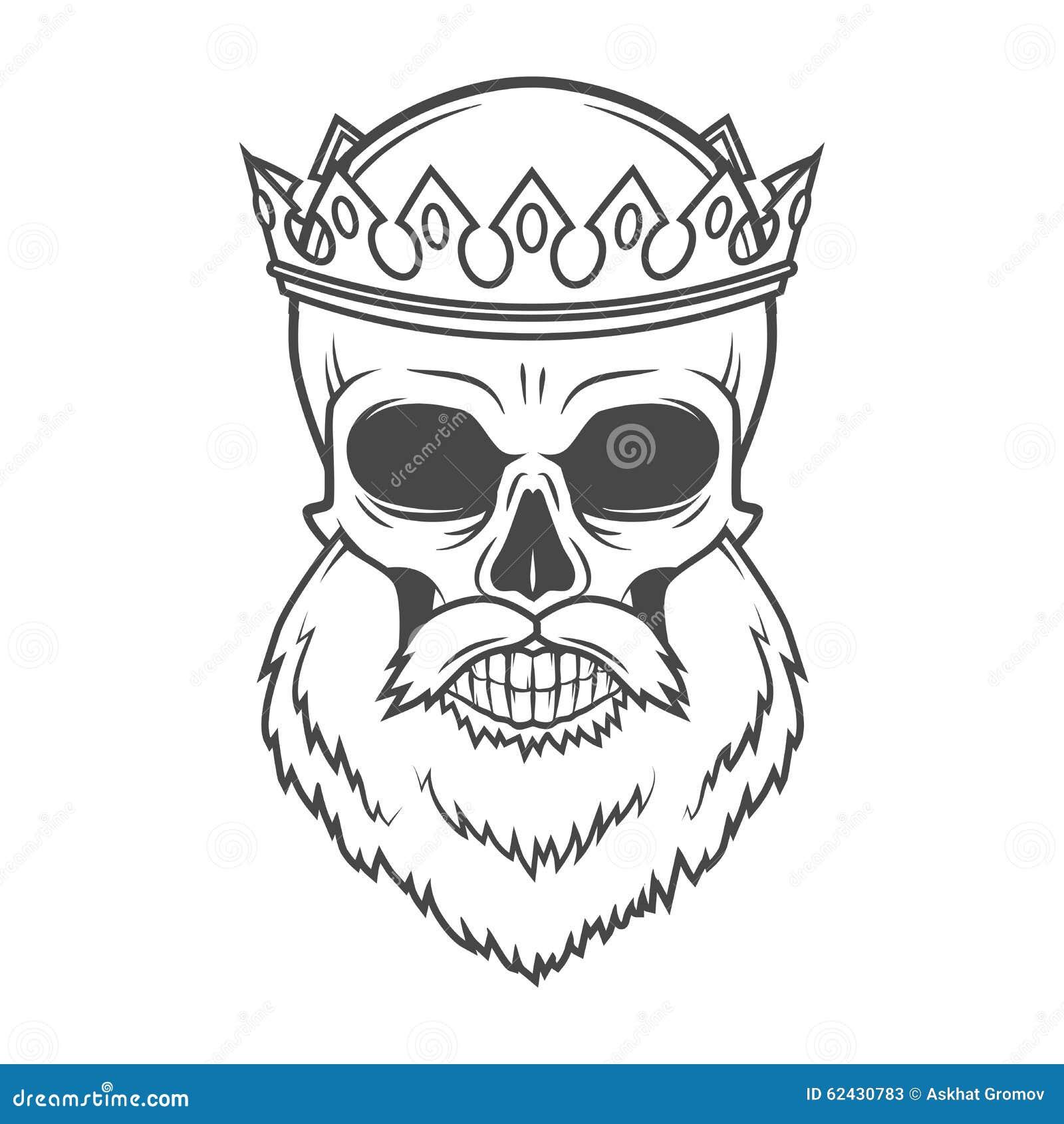 Rey Barbudo Del Cráneo Con Diseño Del Vector De La Corona ...