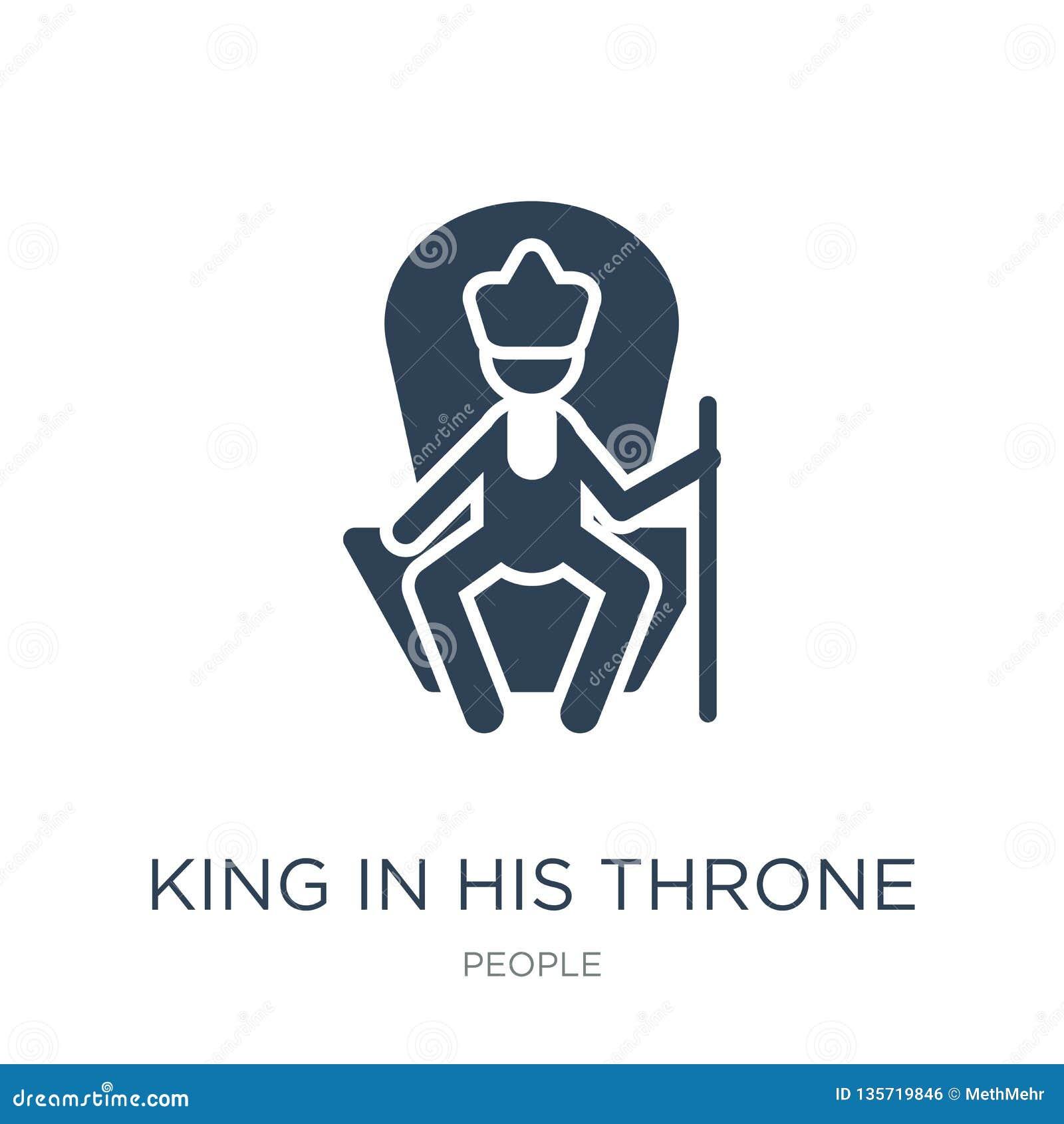 Rey en su icono del trono en estilo de moda del diseño rey en su icono del trono aislado en el fondo blanco rey en su vector del