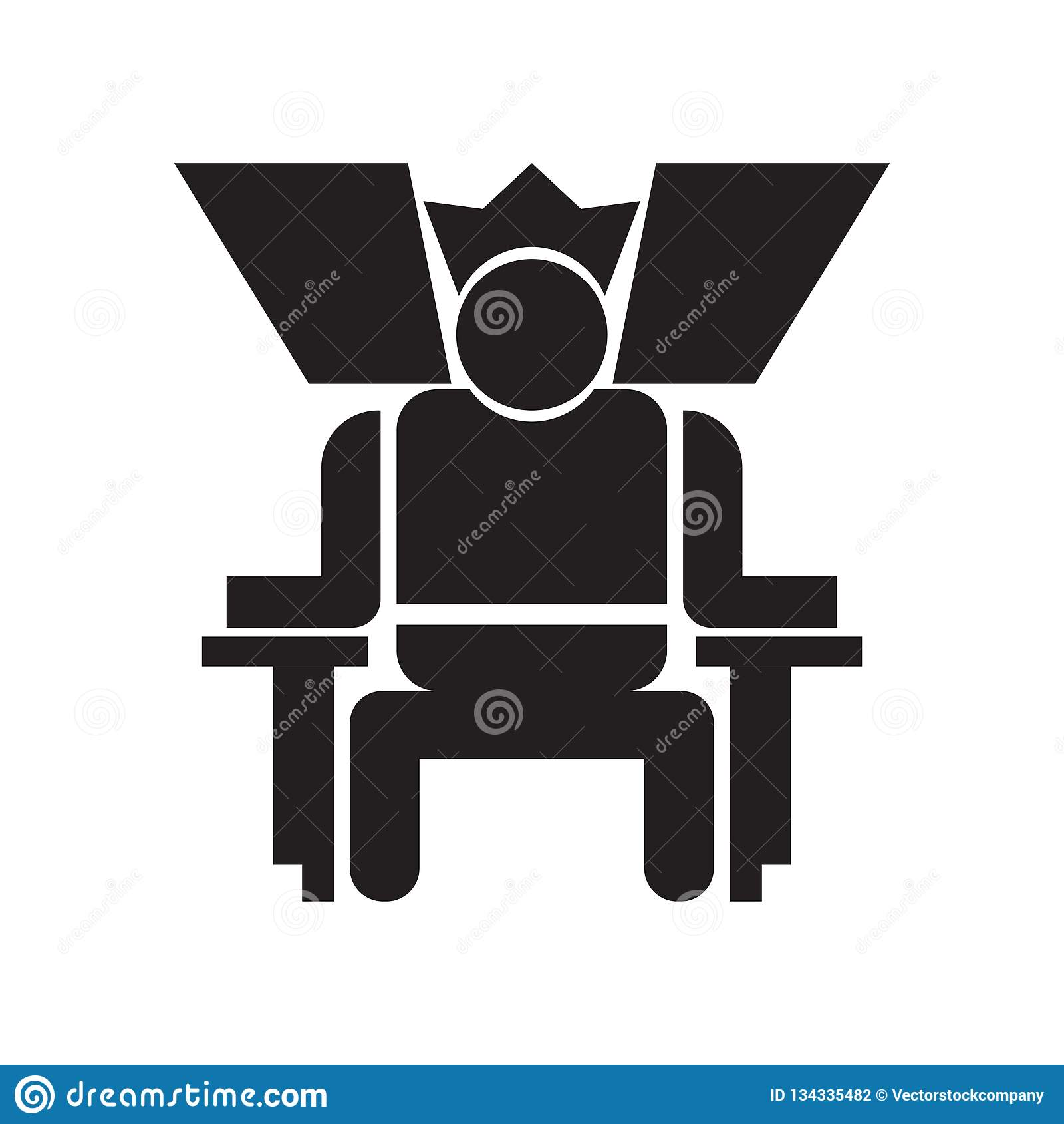 Rey en su muestra y símbolo del vector del icono del trono aislado en el fondo blanco, rey en su concepto del logotipo del trono