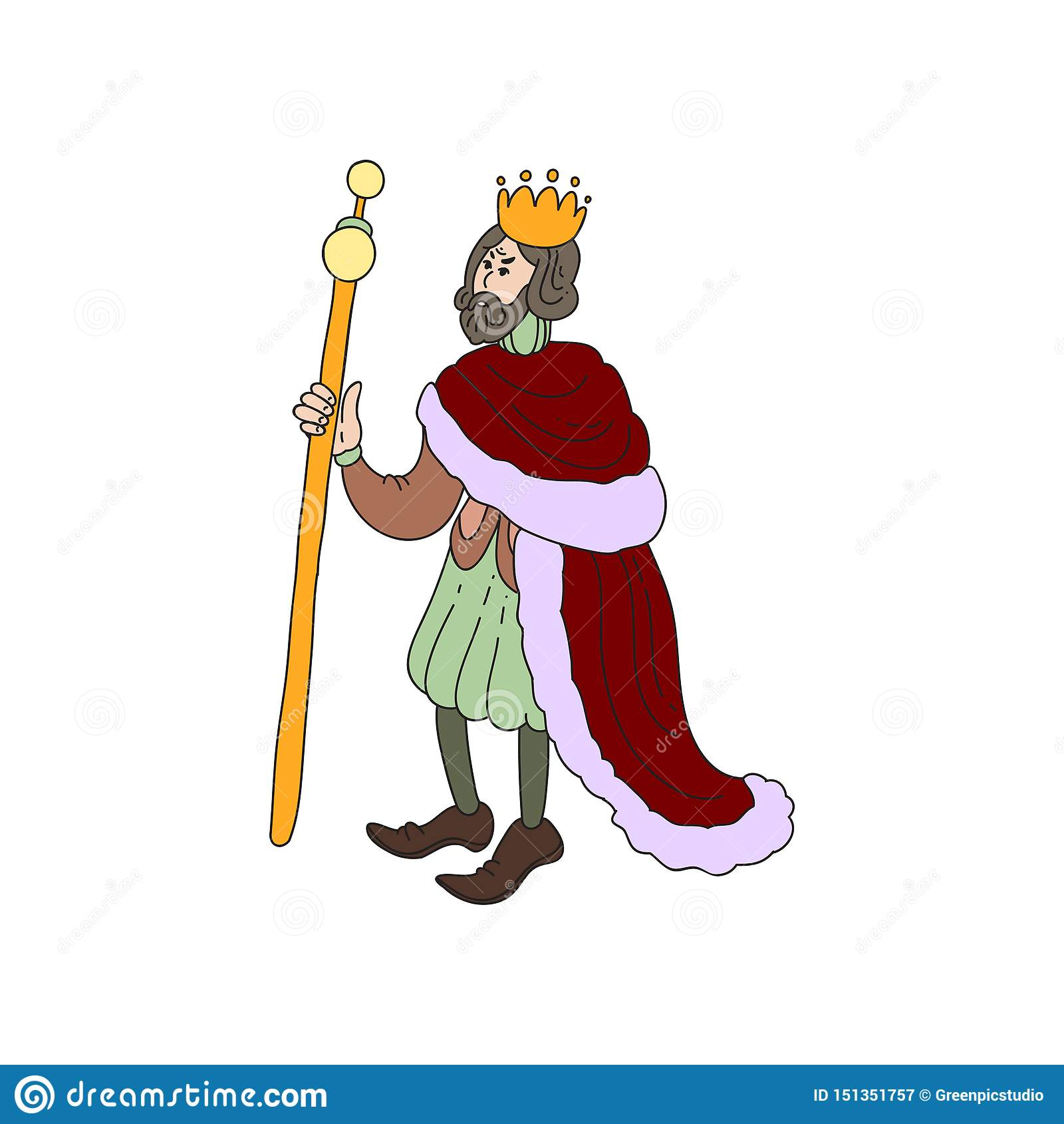 Rey medieval triste con la corona del oro y la ropa roja