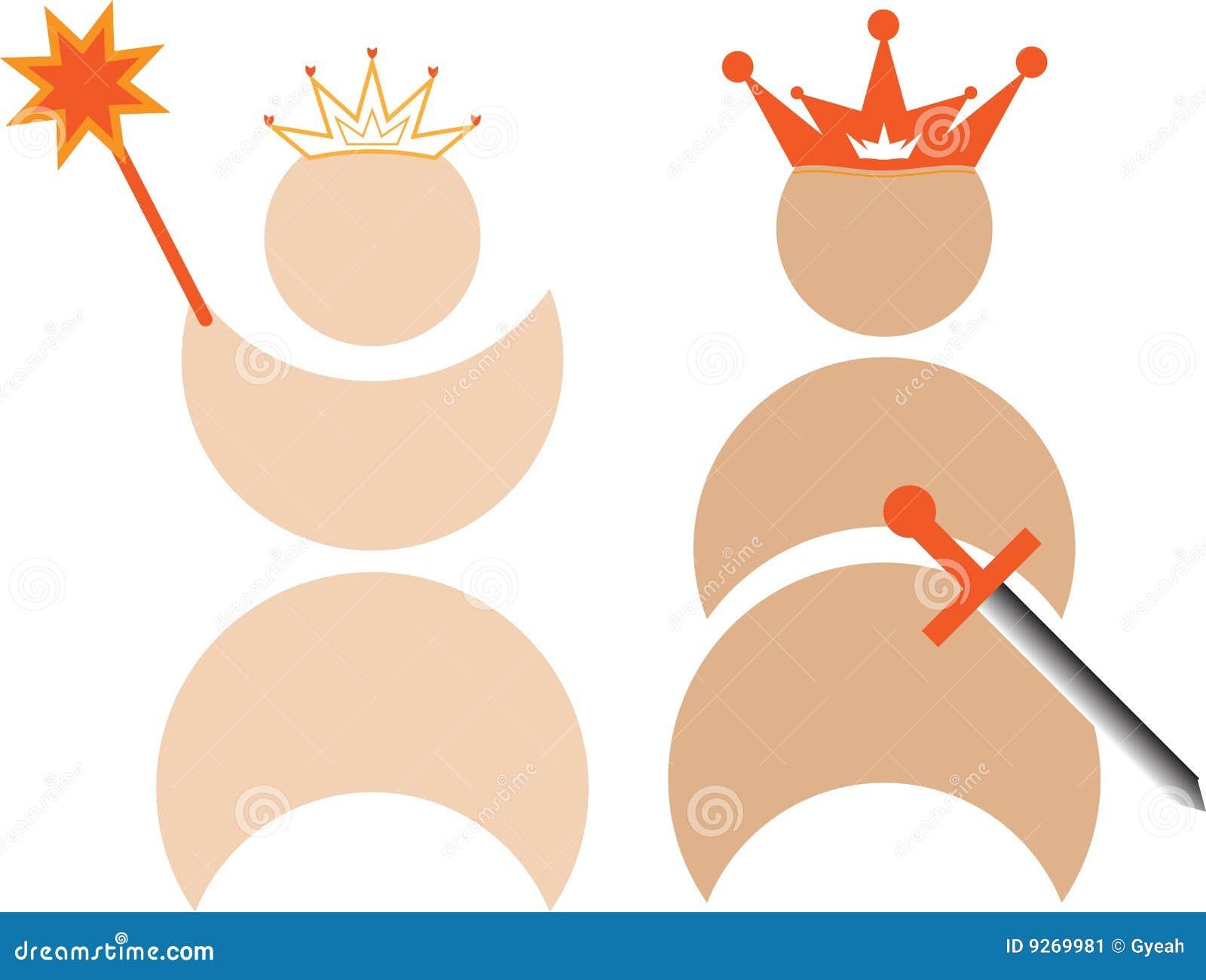 Rey y reina con las coronas