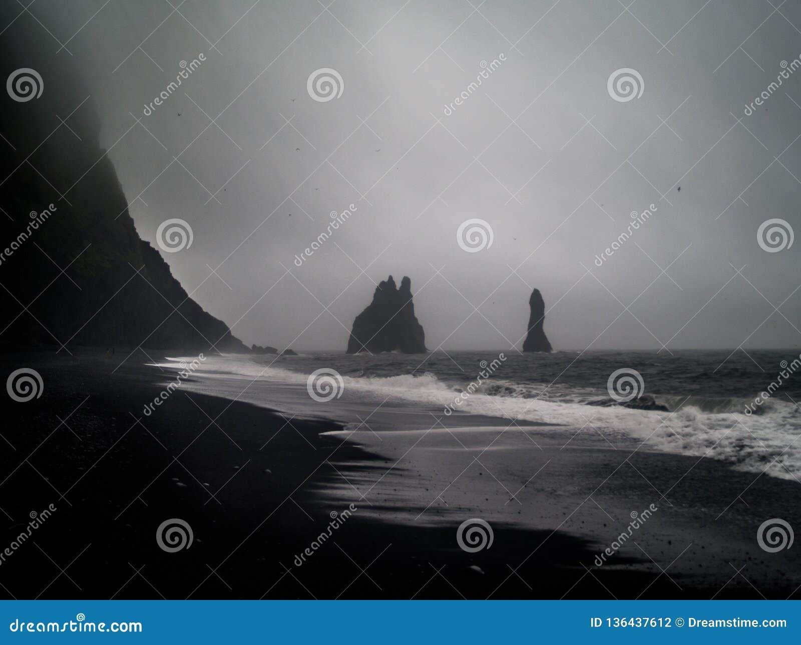 THe Reynisfjara columns from the famous Black Beach Reynisfjara Beach of Iceland