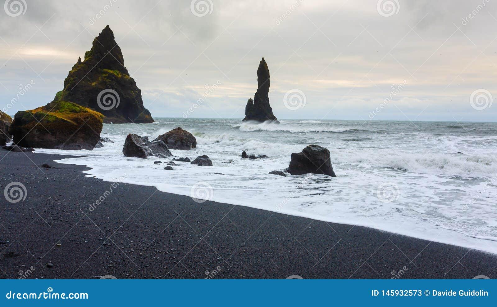 Reynisfjara lava beach view, south Iceland landscape