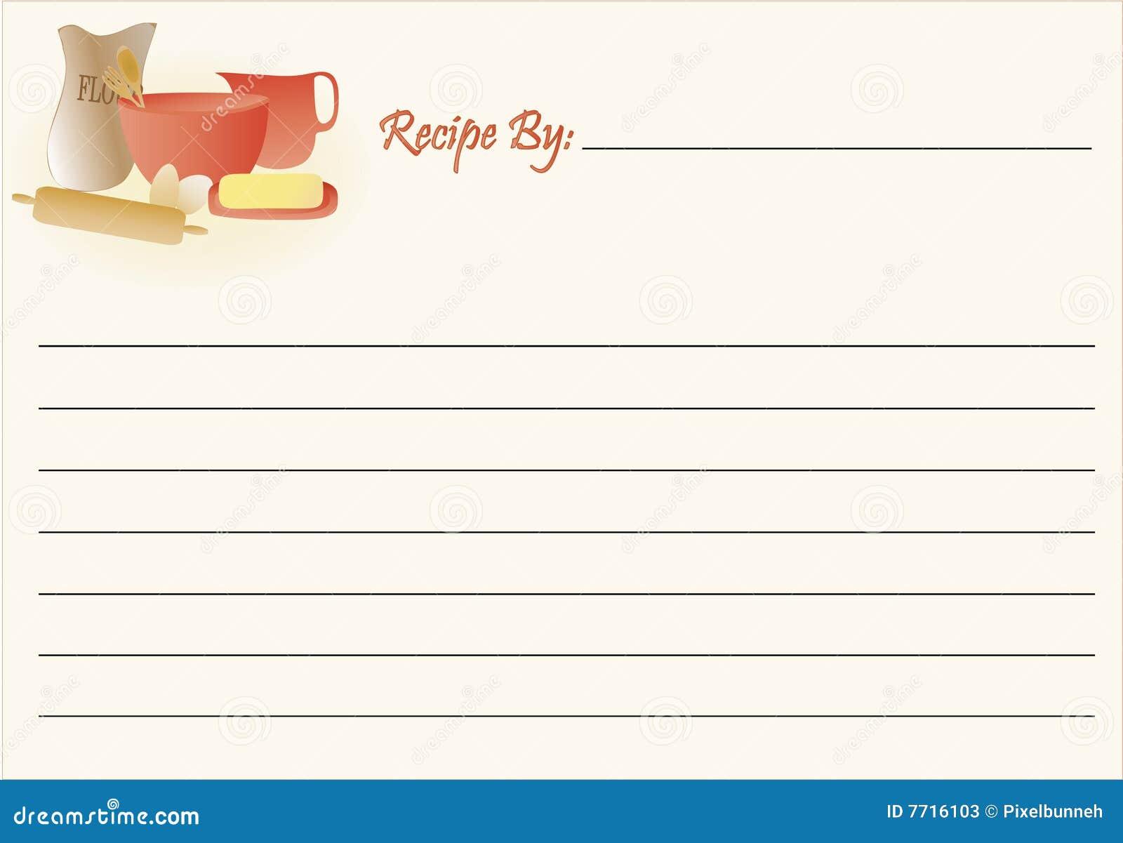 Rezept-Karte - Backen vektor abbildung. Illustration von küche - 7716103