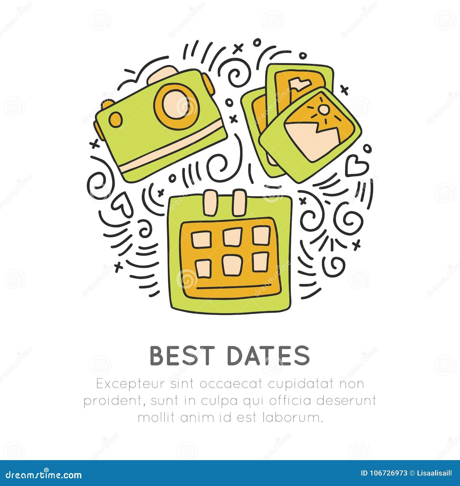 Rezerwować w najlepszy dniach podróżuje ikonę Fotografii kamera, fotografie, kalendarzowa ikona w okrąg formie z dekoracyjnymi el