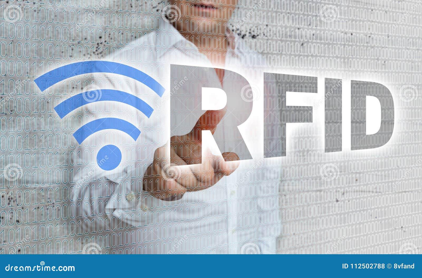 RFID com conceito da matriz e do homem de negócios