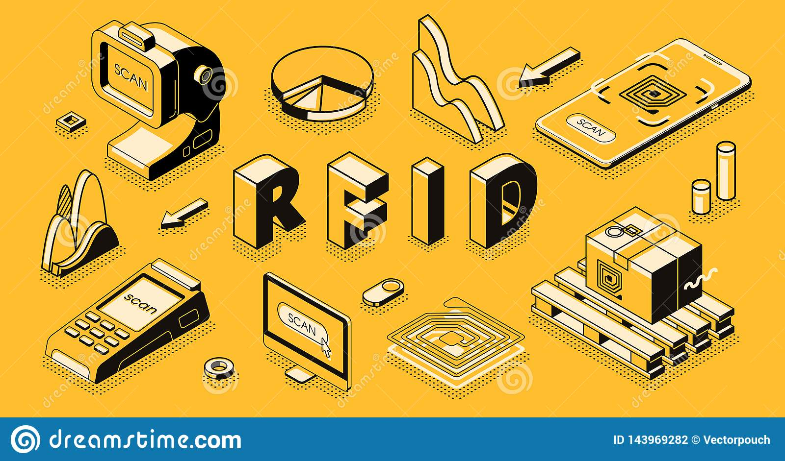 RFID Technology Isometric Vector Business Concept Stock Vector