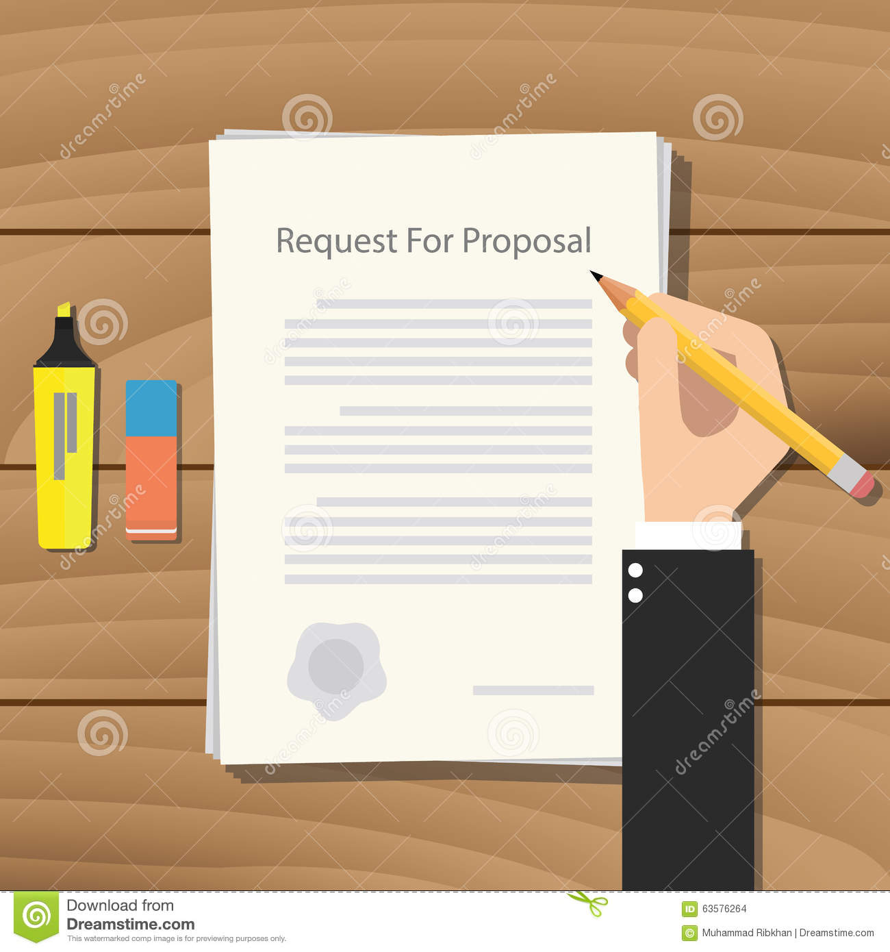 Rfp Request For Proposal Paper Document Stock Vector
