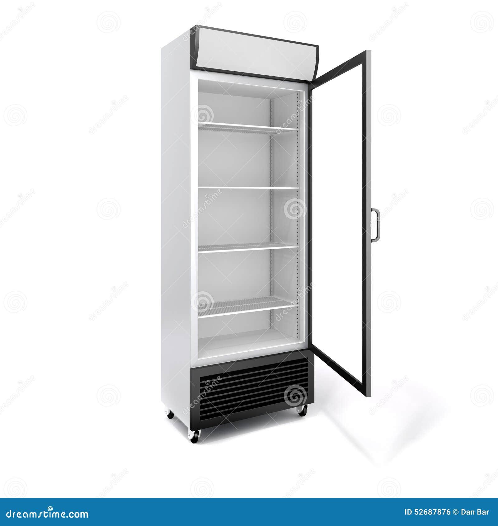 r frig rateur 3d commercial avec la porte en verre illustration stock image 52687876. Black Bedroom Furniture Sets. Home Design Ideas