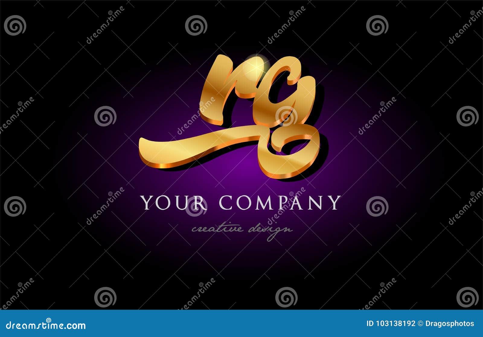 Rg R G 3d Gold Golden Alphabet Letter Metal Logo Icon Design Ha