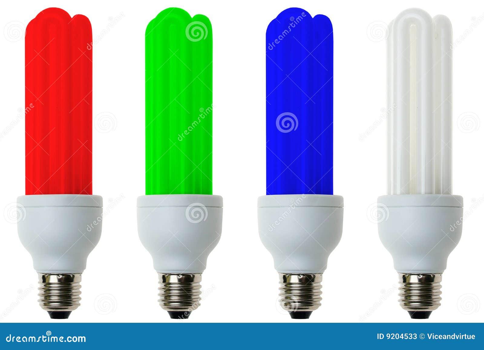 rgb fluorescent light bulbs stock photos - Colored Light Bulbs