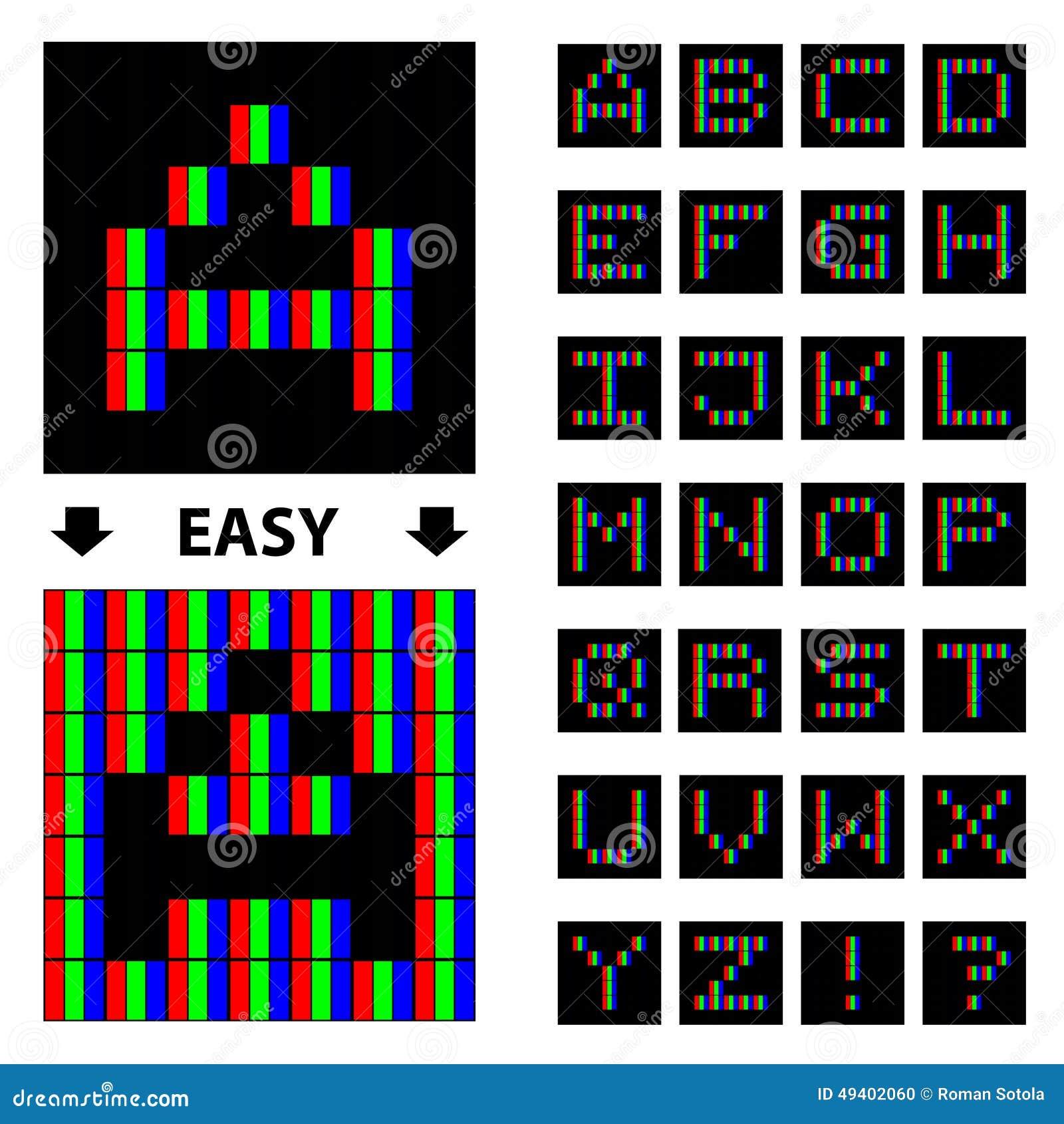 Download Rgb-Pixelgussalphabet vektor abbildung. Illustration von bildschirmanzeige - 49402060