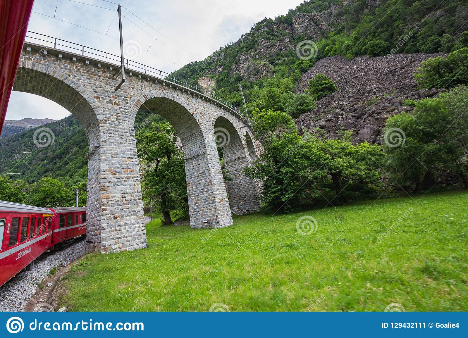Rhaetian Railway crossing a bridge in the Surselva valley