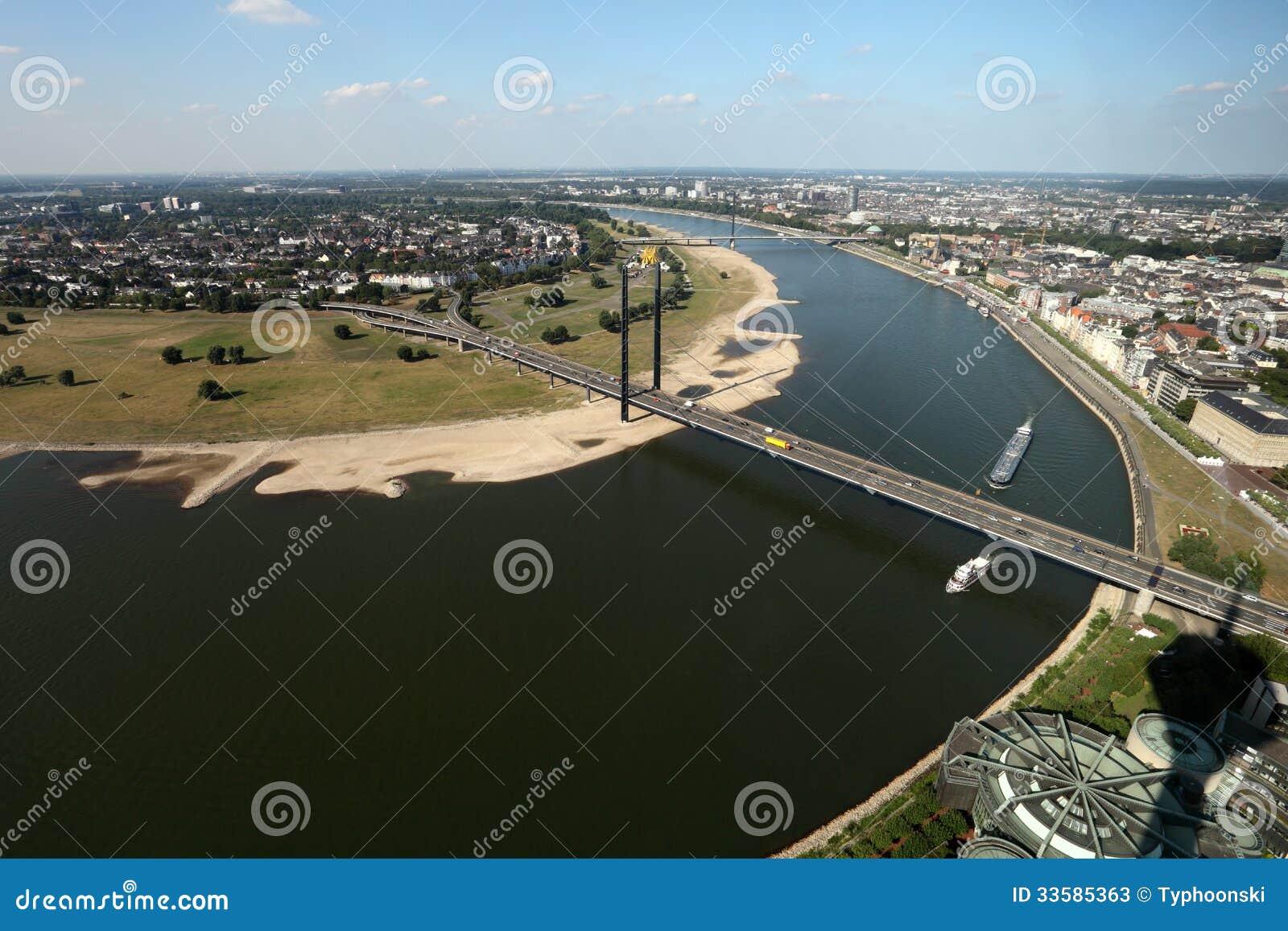 Rhine river in Dusseldorf, Germany