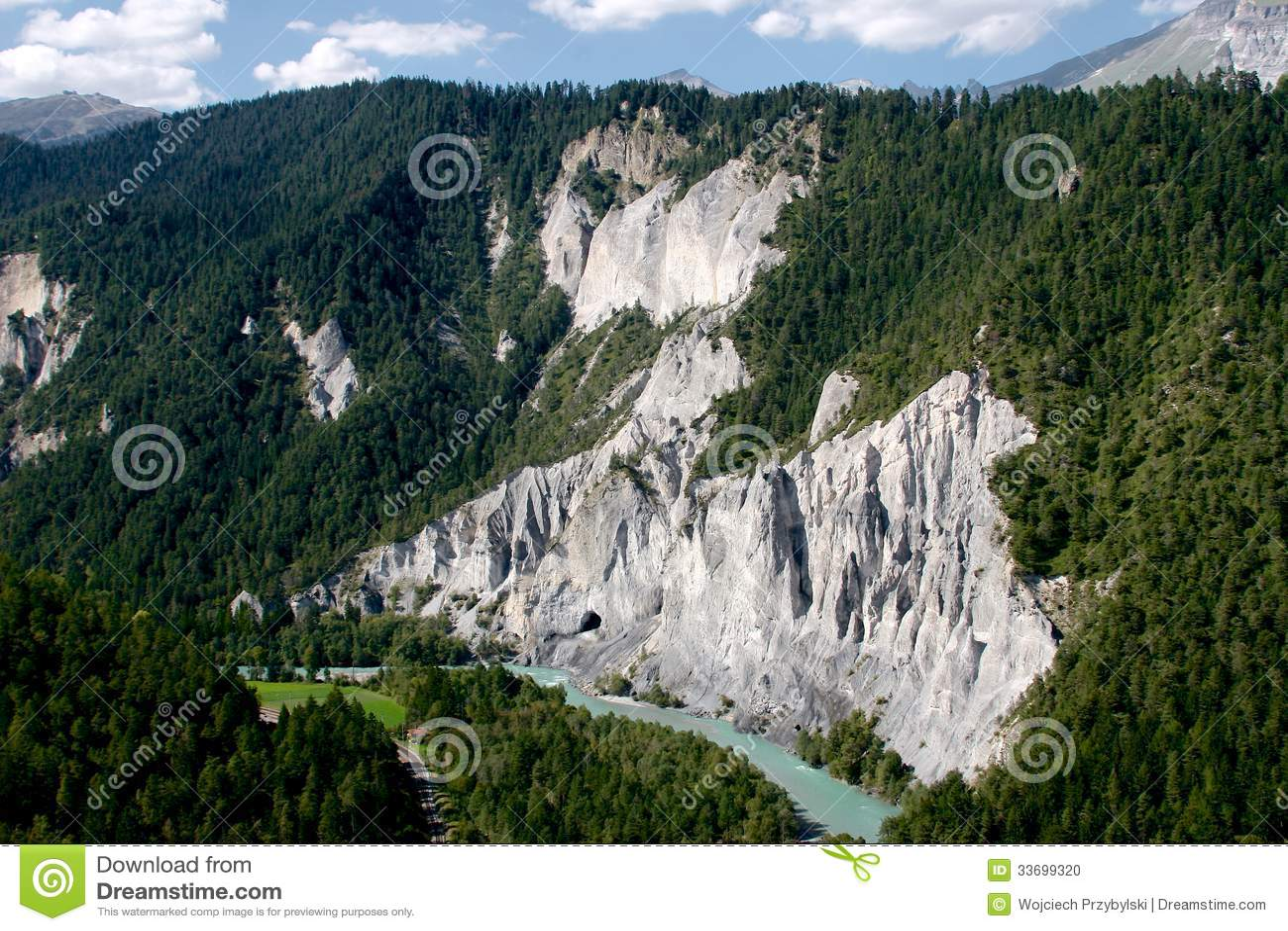 Rhine River Gorge In Swiss Alps Switzerland Stock Photo Image - Swiss river to the rhine