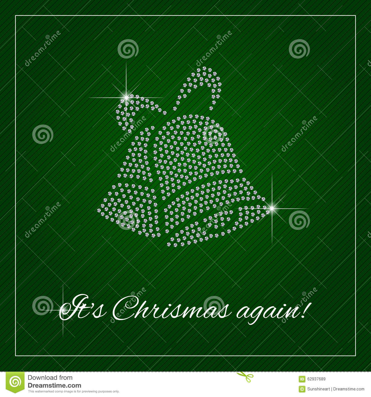 card or poster. Shimmering diamond luxury Christmas bells. Template ...