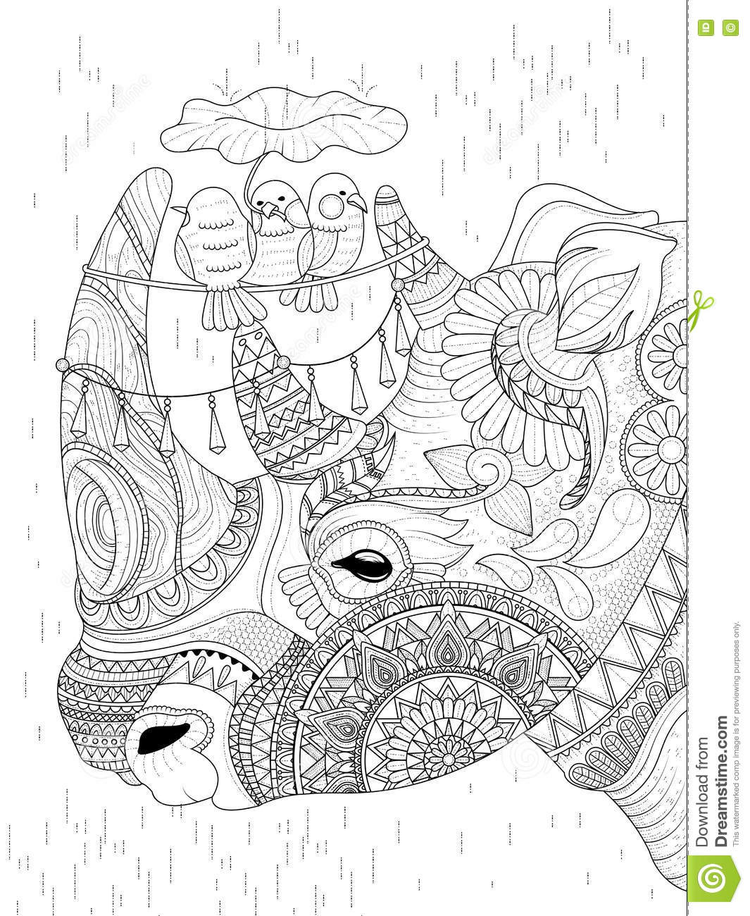 Rhino adult coloring page stock vector. Illustration of cover - 71291554