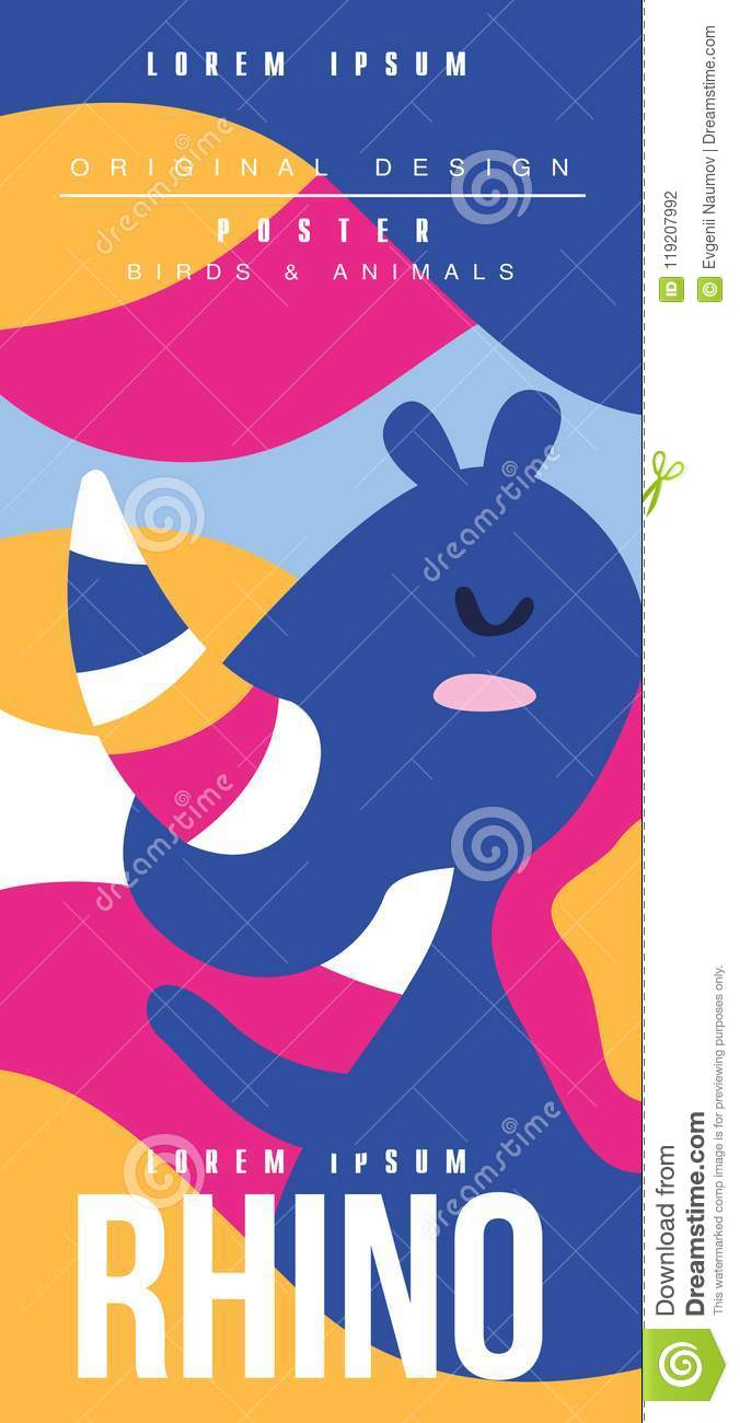 Rhino, Birds And Animals Poster Original Design, Can Be Used For ...