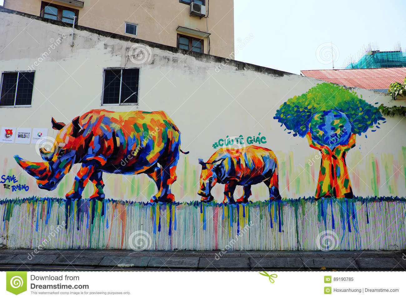 Ho chi minh city viet nam march 23 2017 propaganda campaign to vietnamese dont use rhino horn by graffiti art rhinoceros painting on wall