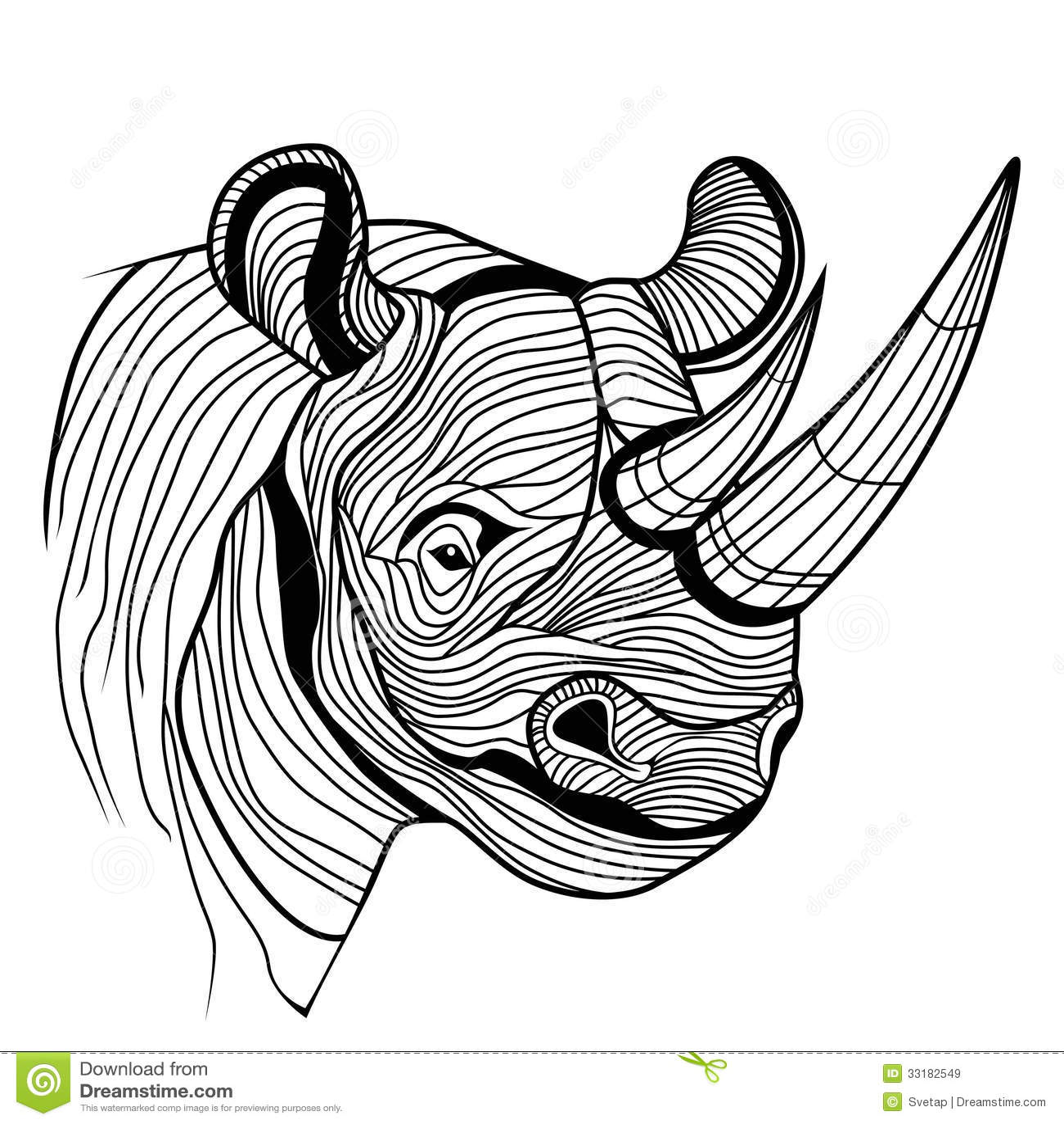 Rhino Rhinoceros Animal Head Stock Vector - Image: 33182549