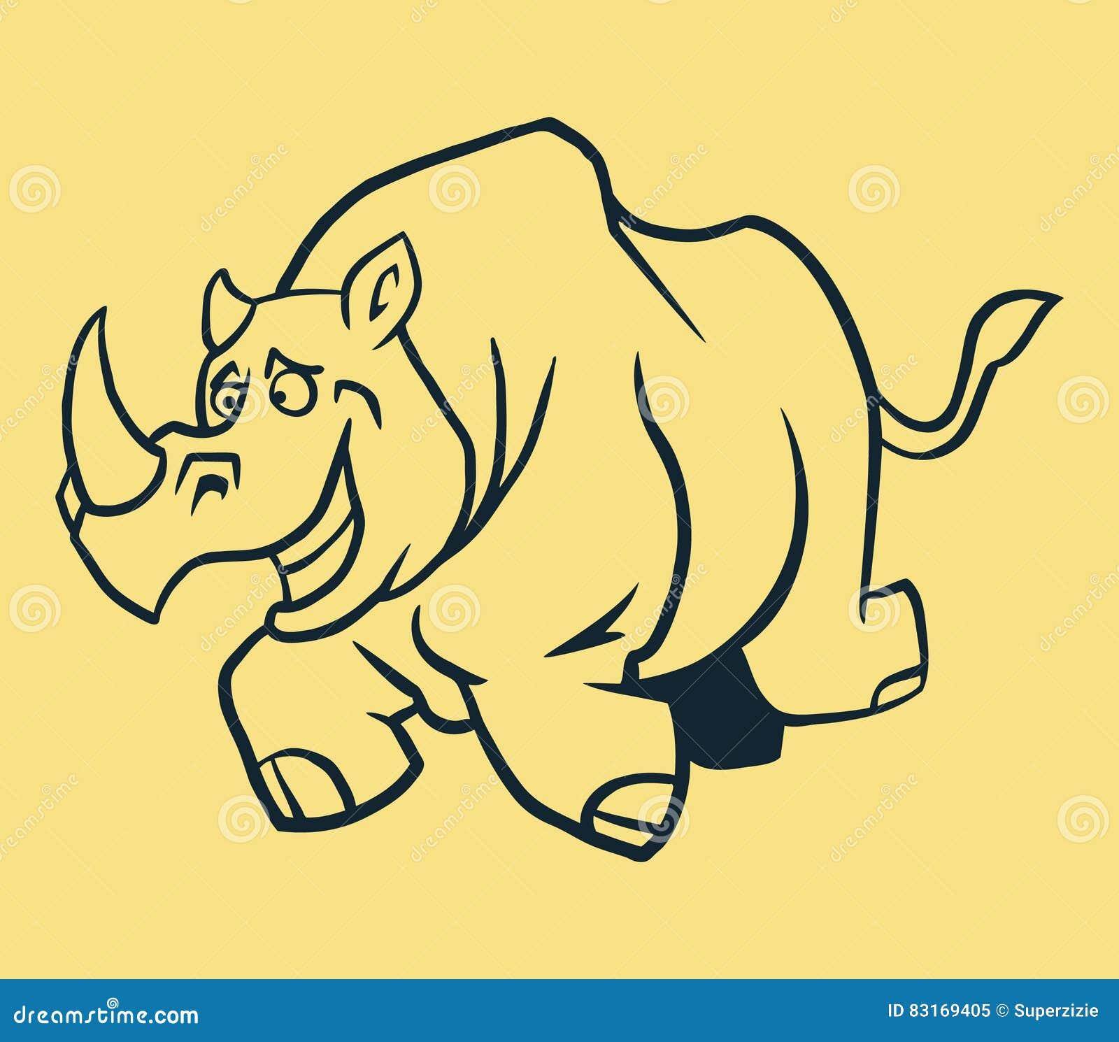 Line Art Vector Illustrator : Rhino run line art stock vector illustration of outline
