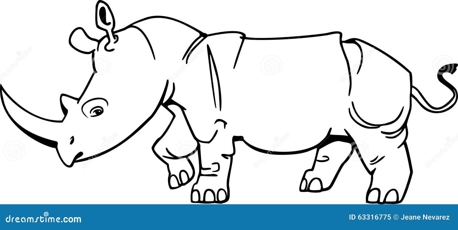 Line Drawing Rhino : Rhinocerotidae cartoons illustrations vector stock