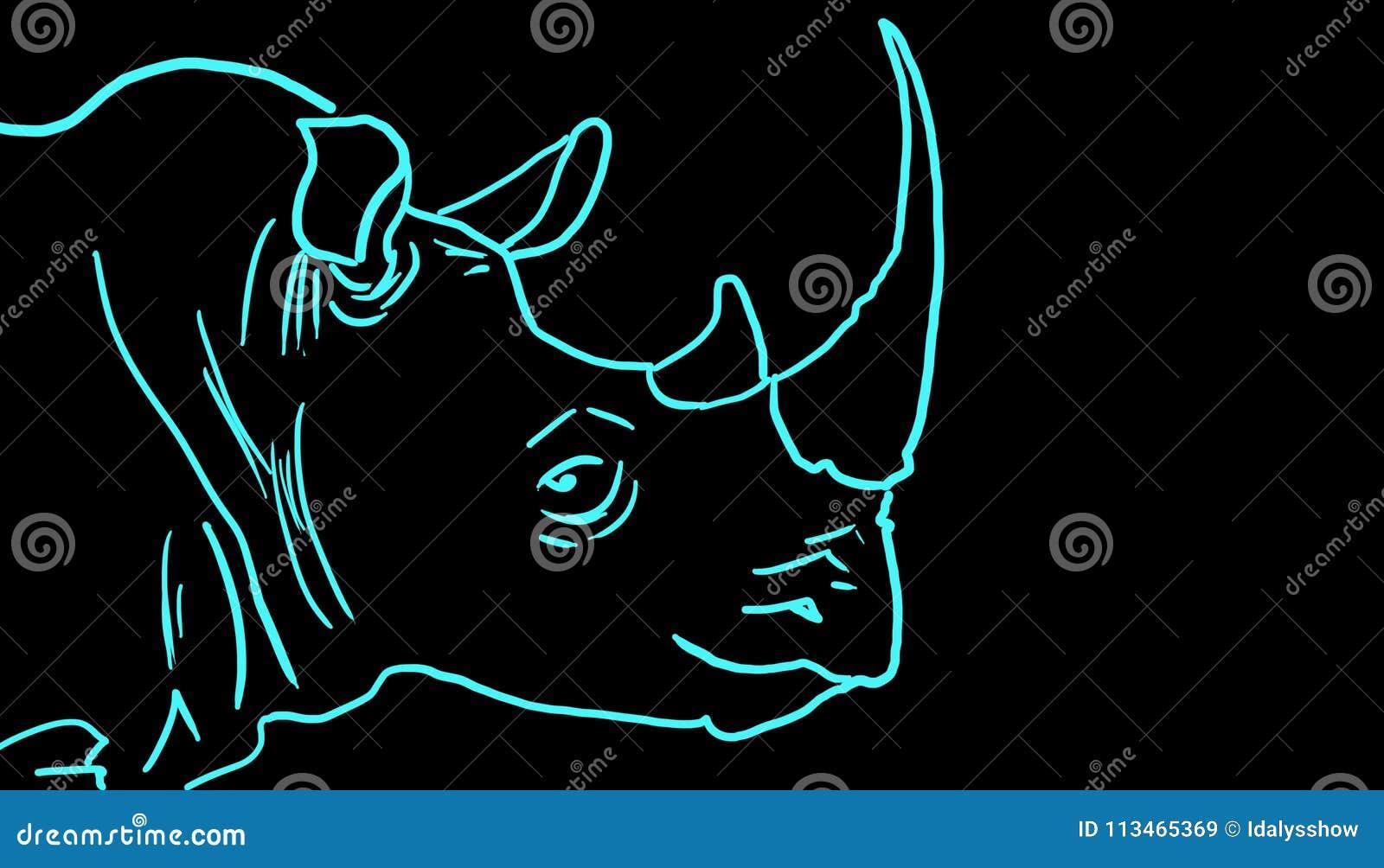 Rhinocéros bleu illustration stock. Illustration du peau - 113465369