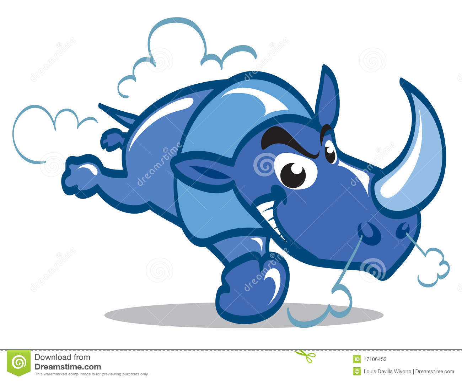 Rhinocéros bleu illustration de vecteur. Illustration du cartoon ...