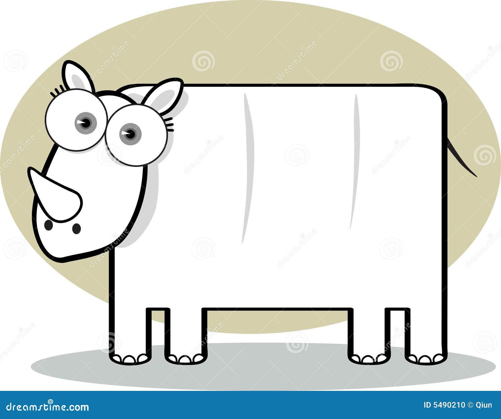Dessin Anim Noir Et Blanc: Rhinocéros De Dessin Animé En Noir Et Blanc Photo Stock