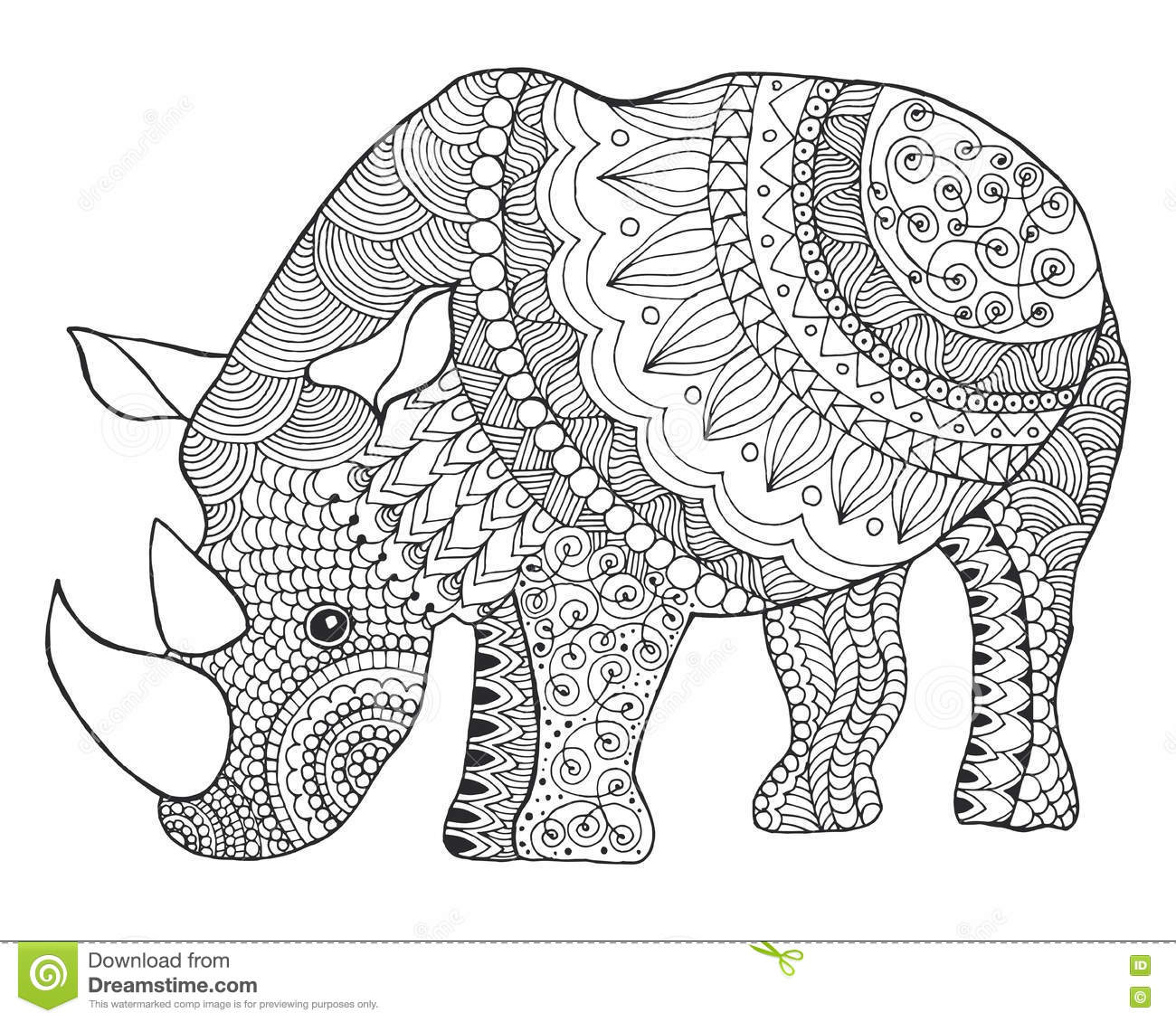 rhinoceros black white hand drawn doodle animal ethnic patterned vector illustration sketch coloring page tattoo poster print