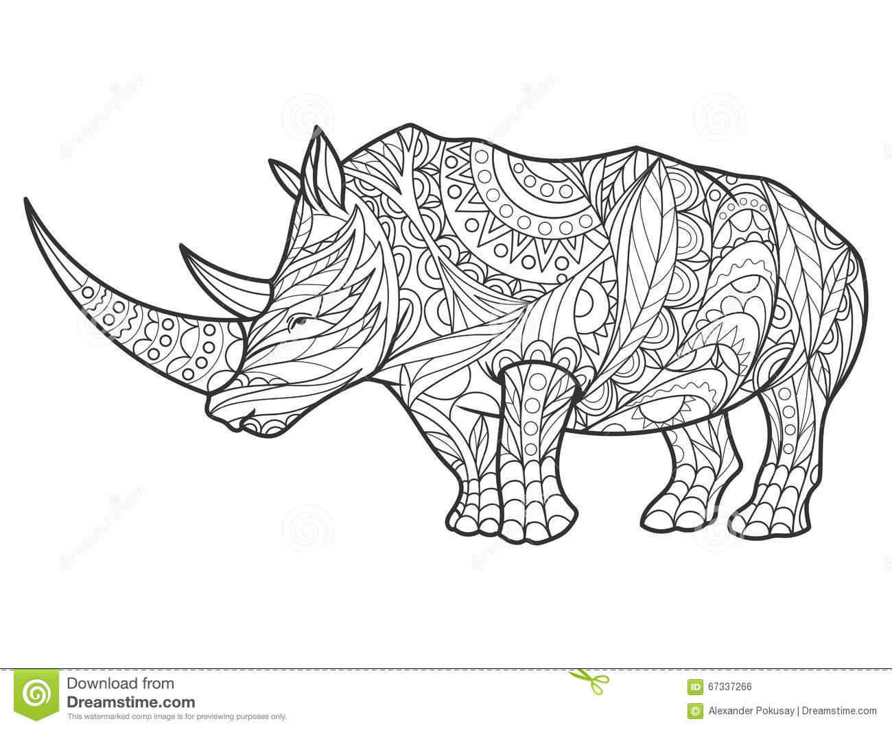 rhinoceros coloring page - rhinoceros coloring book for adults vector stock vector