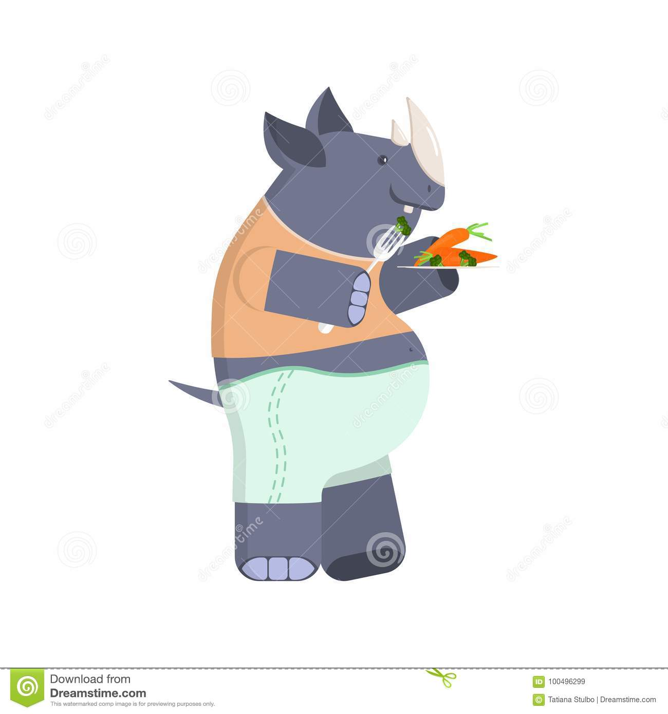 Rhinoceros on a diet stock vector. Illustration of concept ...