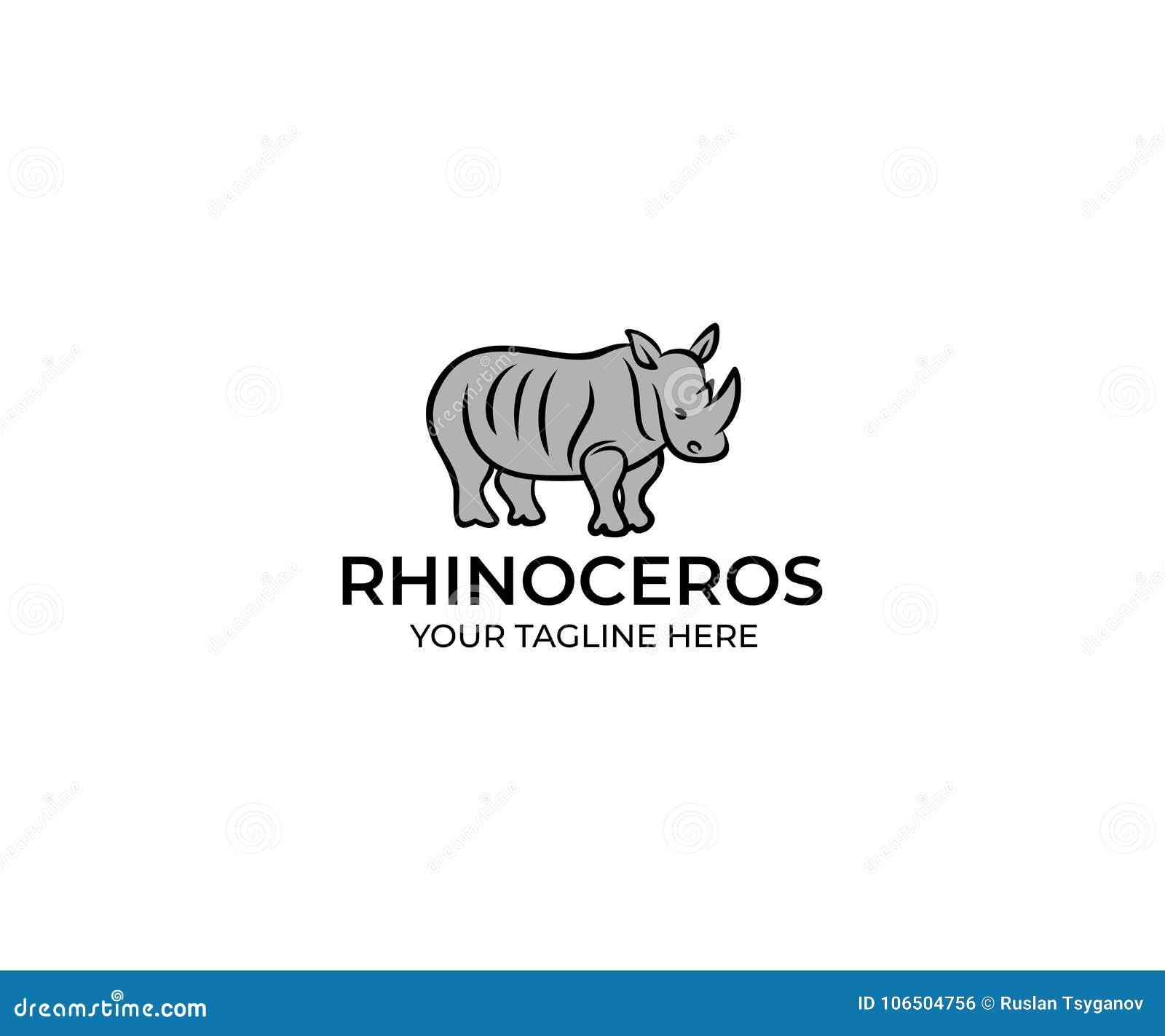 Rhinoceros Linear Logo Template Rhino Vector Design
