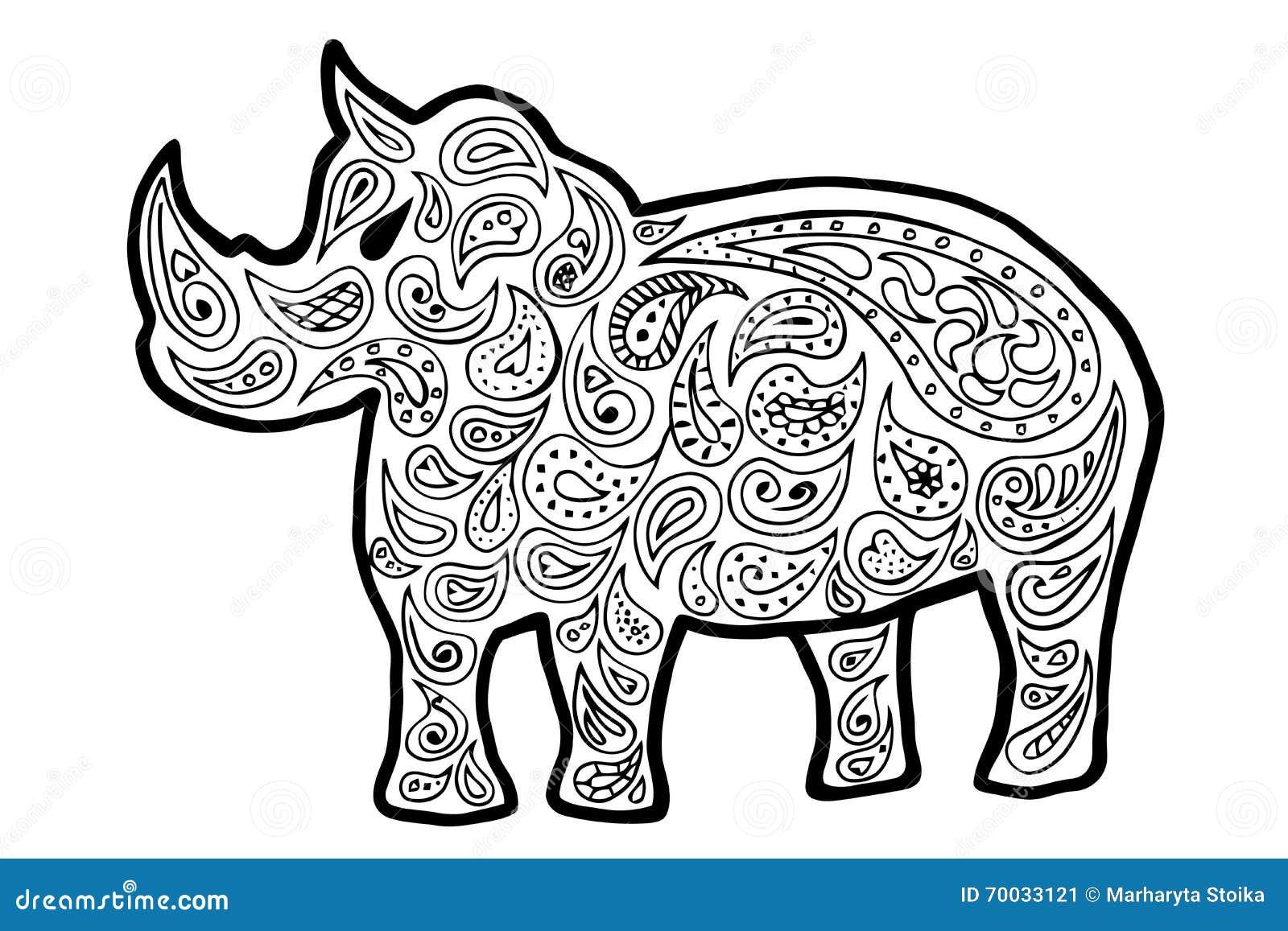 rhinoceros vector rhinoceros zen tangle and zen doodle