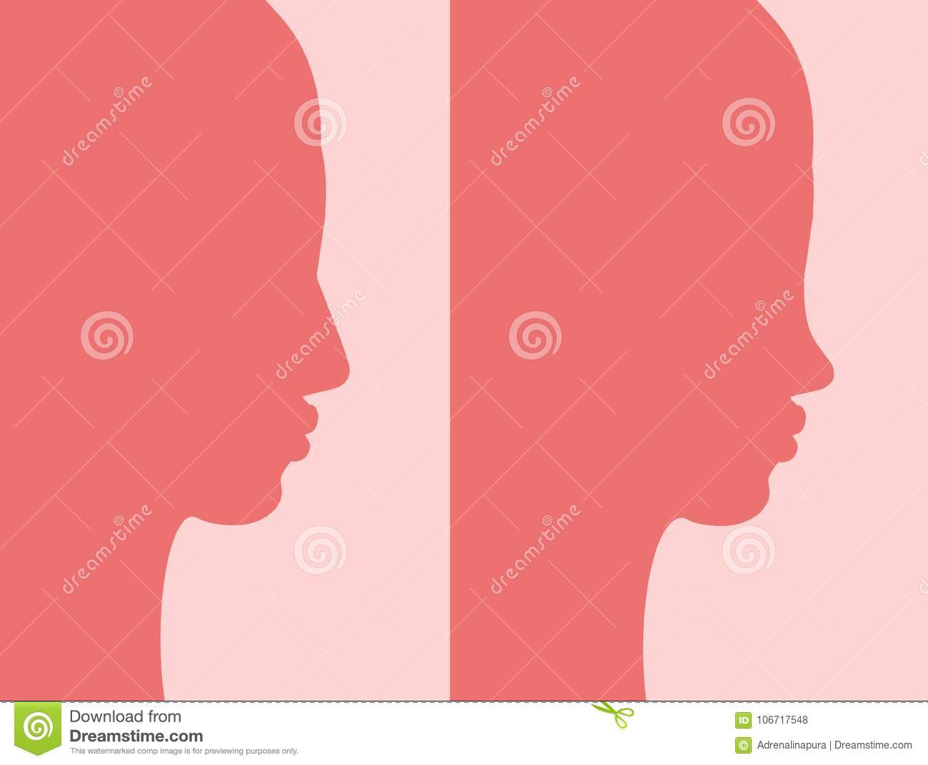 Before And After Rhinoplasty Stock Illustration - Illustration of