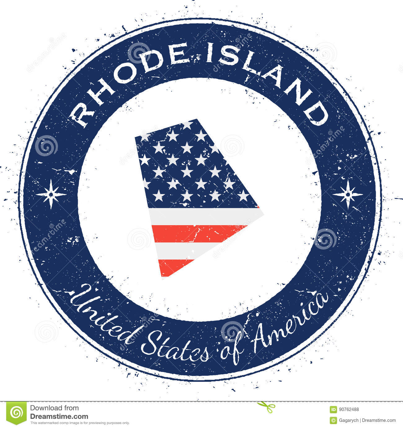 Rhode Island Circular Patriotic Badge Grunge Rubber Stamp With USA State Flag Map And The Written Along Circle Border Vector Illustration