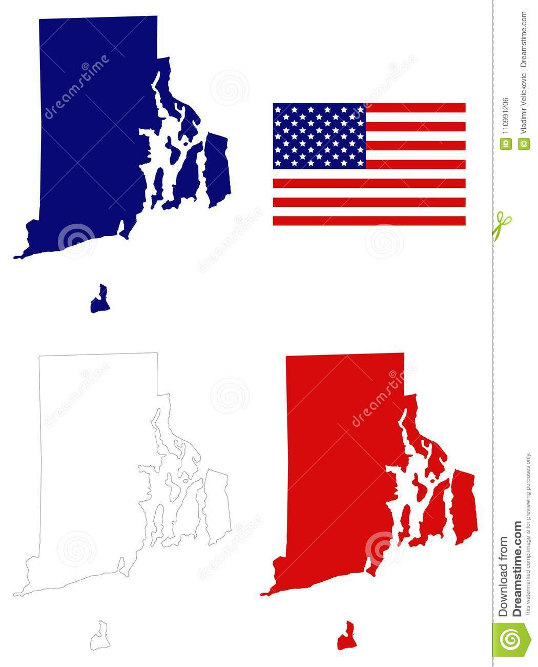 Rhode Island Map With USA Flag - State In The New England ...