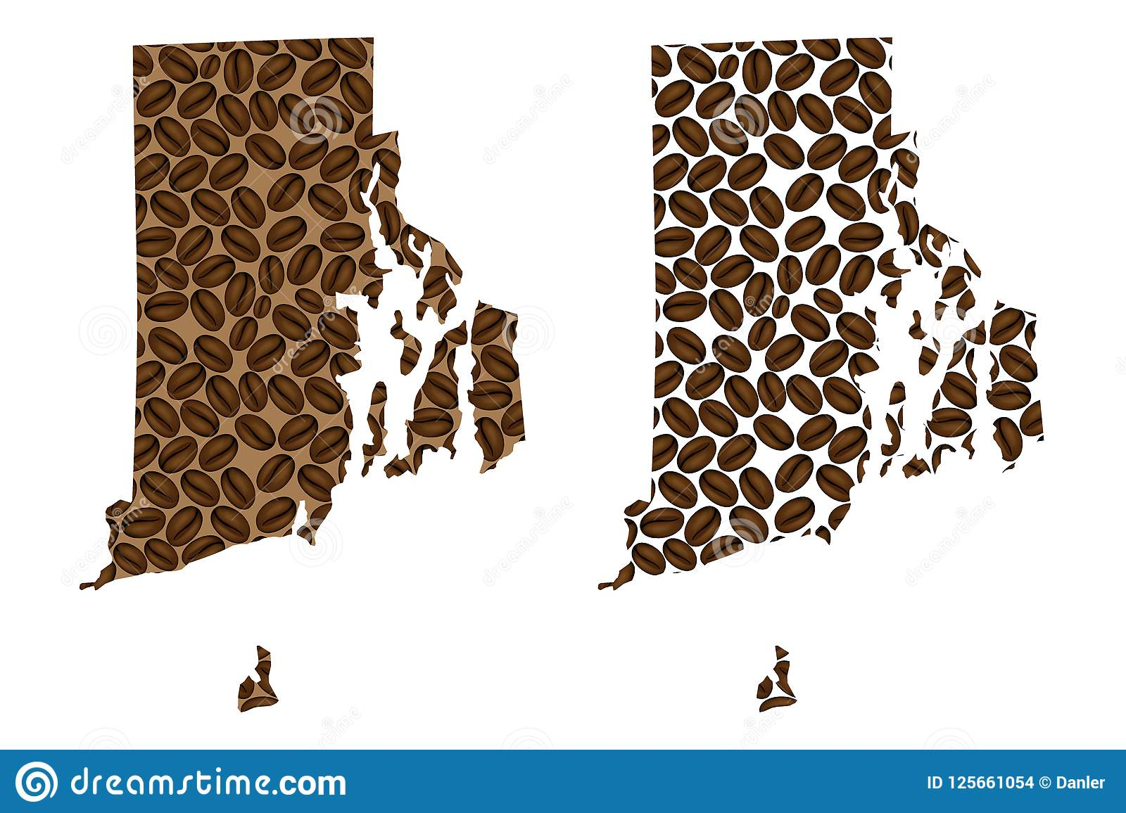 Rhode Island Map Of Coffee Bean Stock Vector