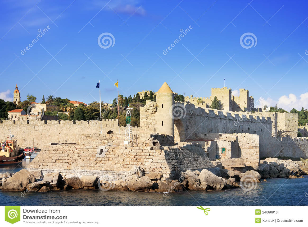 Rhodes.City Landscape In A Sunny Day Royalty Free Stock Image - Image ...