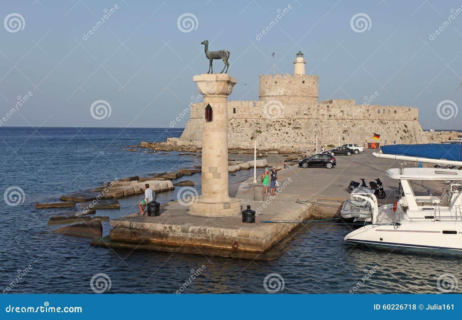Rhodes Mandraki Harbour, Greece Editorial Stock Photo ...