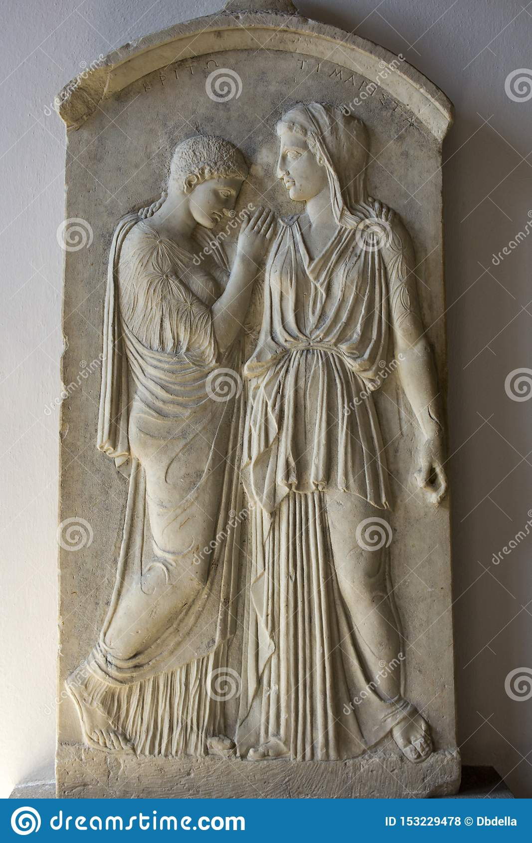 Rhodes Old City - Grave stele of Krito and Timarista, mother and her daughter 4th century B.C. . Archaeological museum, Dodecane