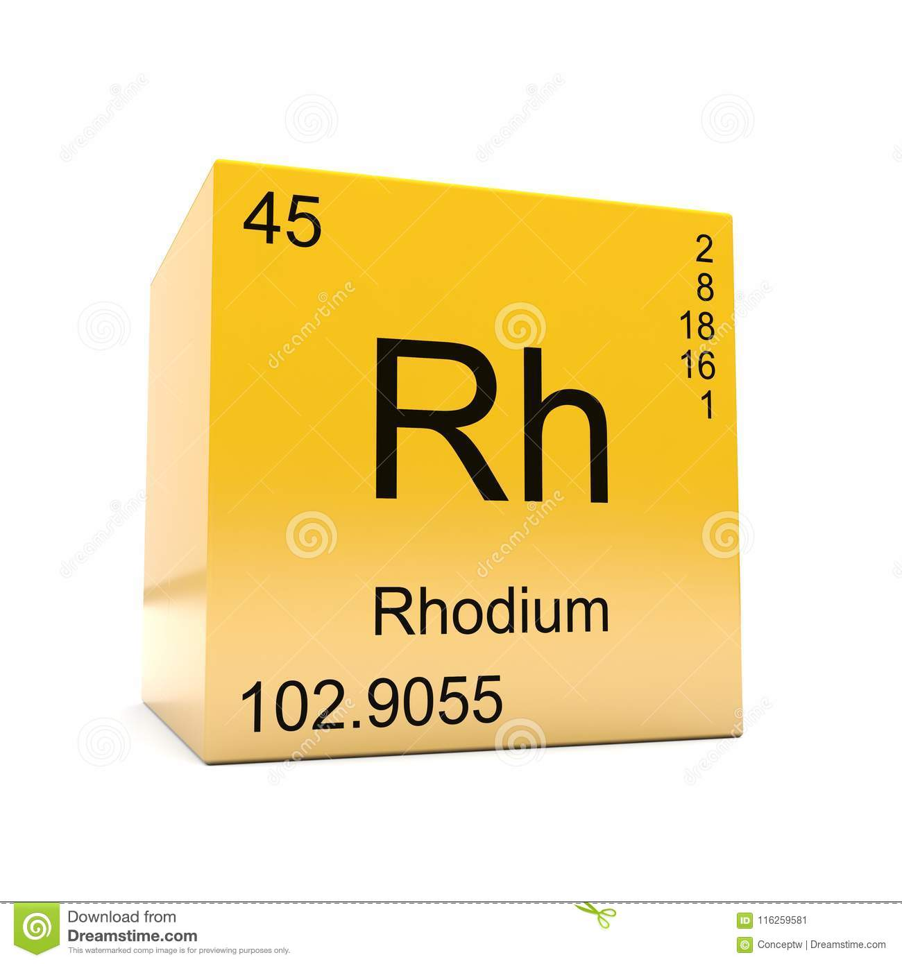 Rhodium Chemical Element Symbol From Periodic Table Stock
