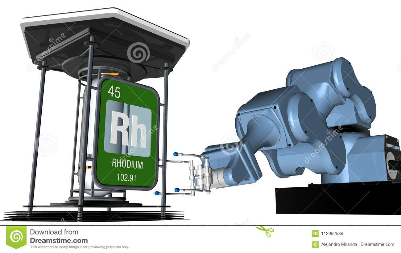 Rhodium symbol in square shape with metallic edge in front of a mechanical arm that will hold a chemical container. 3D render.