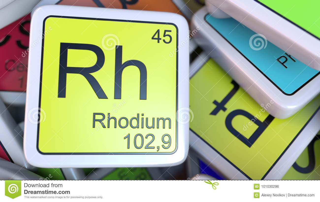 Rhodium Rh Block On The Pile Of Periodic Table Of The Chemical