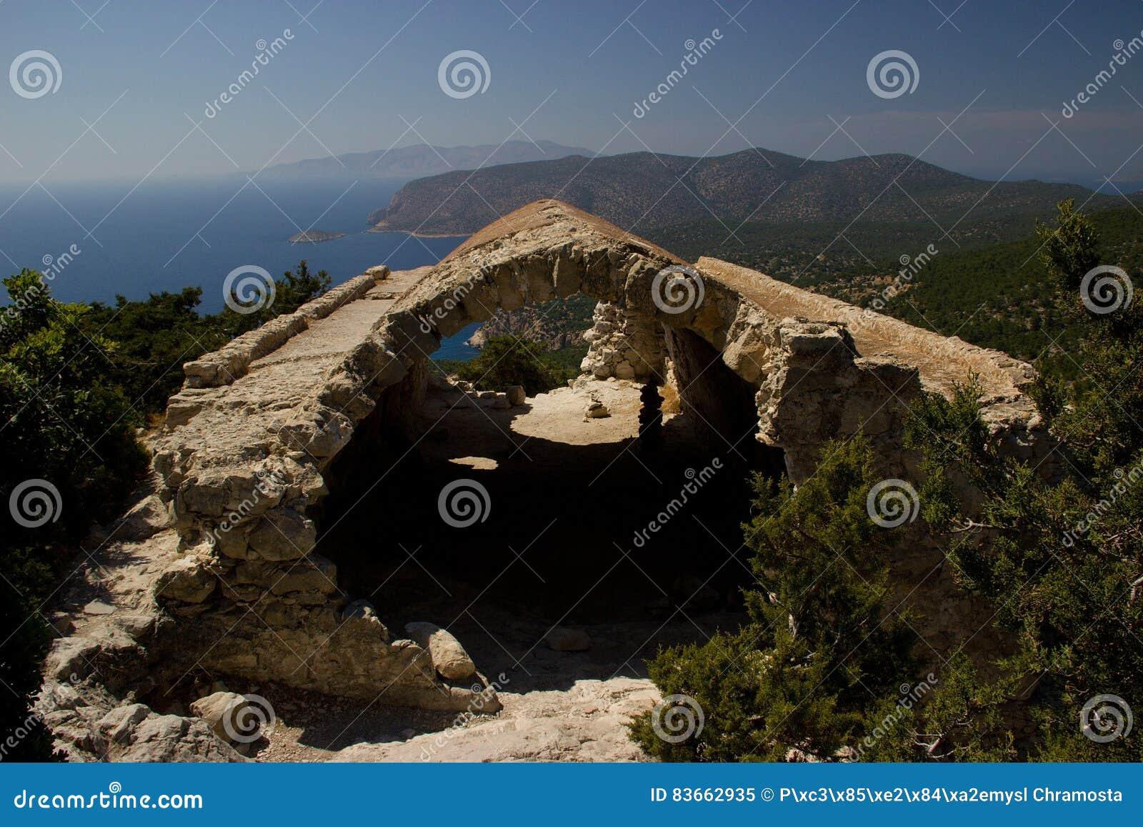 Rhodos Greece historic buildings architecture castle of Monolithos ruins