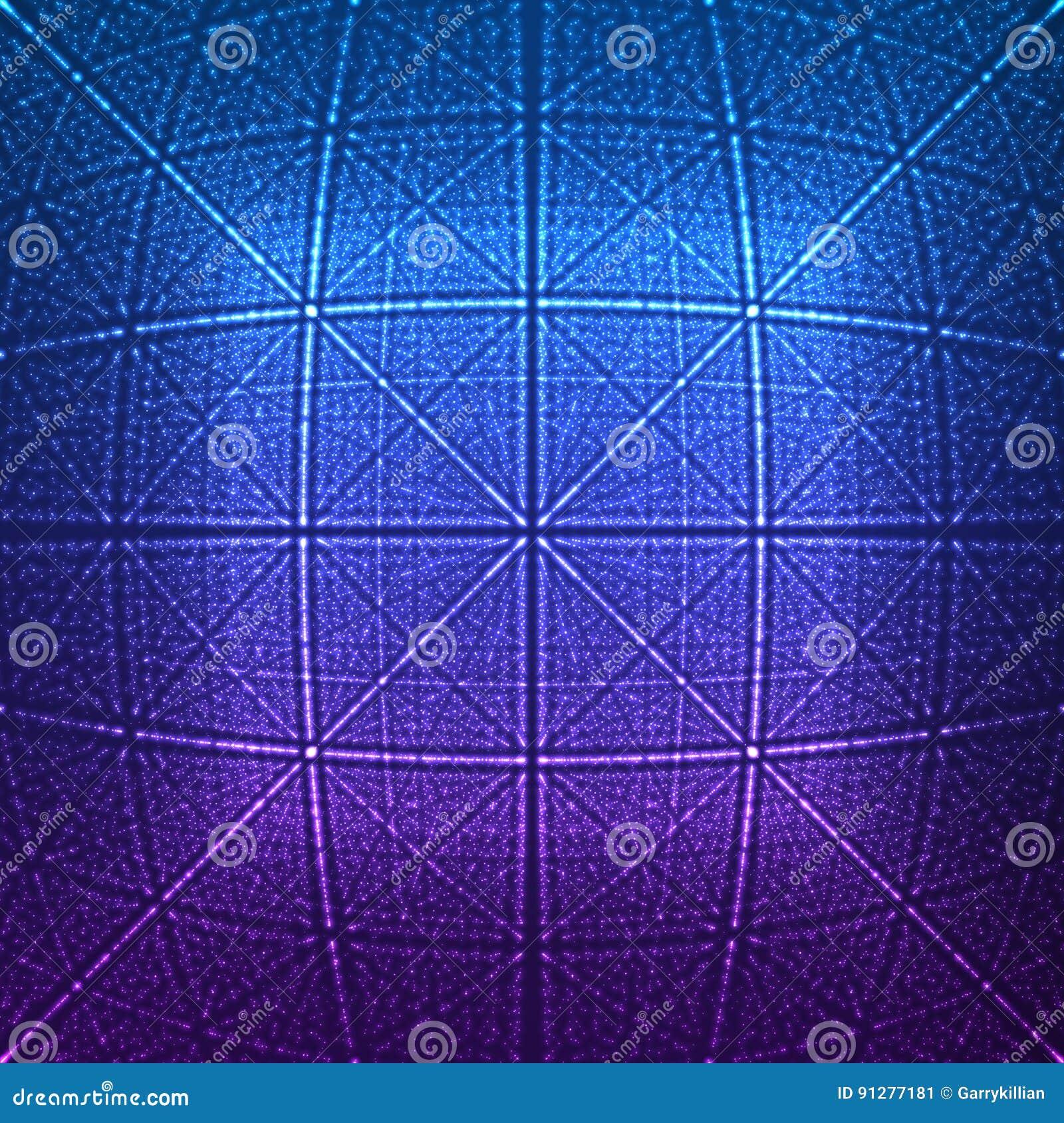Rhombic för vektor blossar den oändliga eller fyrkantiga tunnelen av att skina på bakgrund Glödande sektorer för punktformtunnel