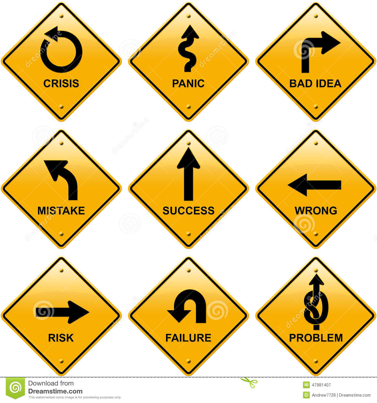 rhombic yellow road signs with arrows stock image illustration of